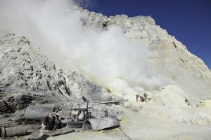 Mine machinery and pool for cooling water, Kawah Ijen volcano, Java, Indonesia