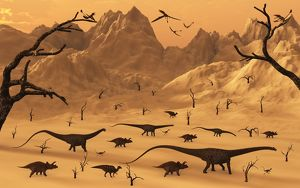 A mixed herd of dinosaurs migrate to greener pastures