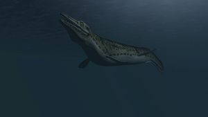 Mosasaur swimming in prehistoric waters