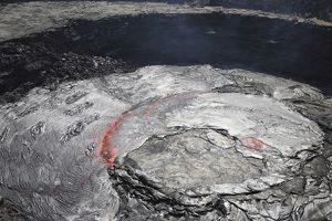 Overflowing lava lake in pit crater, Erta Ale volcano, Afar region, Danakil Depression