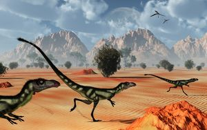 A pack of dilong tyrannosaurid dinosaurs hunting