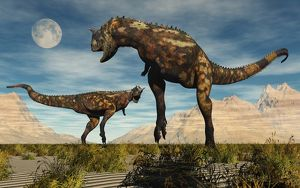 A pair of Carnotaurus dinosaurs fighting over territory