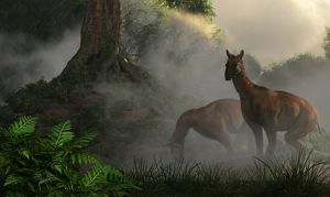 A pair of Macrauchenia grazing in a prehistoric forest