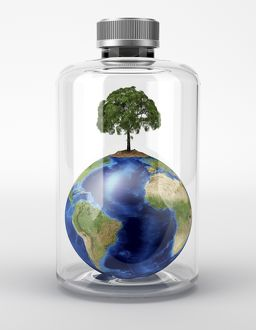 Planet Earth with a tree on top, inside a glass bottle