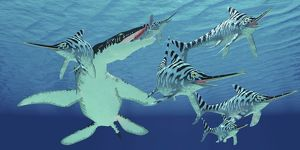 A pod of Eurhinosaurus marine reptiles try to evade the much larger Liopleurodon