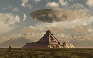 A reptoid greets an incoming flying saucer above a pyramid
