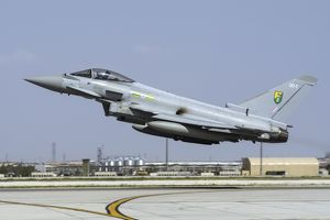 A Royal Air ForceTyphoon FGR4 taking off from Konya Air Base, Turkey