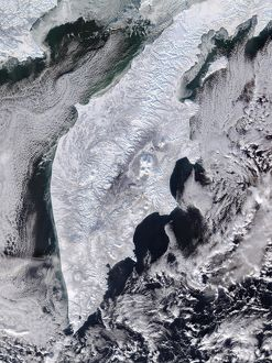 space/satellite view kamchatka peninsula eastern russia