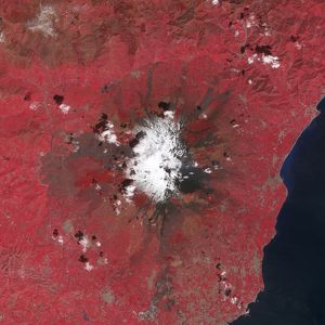 space/satellite view mount etna emitting plumes volcanic