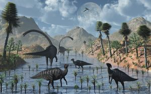 Sauropod and duckbill dinosaurs feed peacefully together