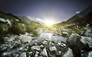 miscellaneous/small river flowing large stones sunset pirin