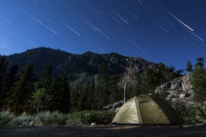 Star trails and a lone tent in the Inyo National Forest, California