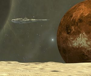 A starship visits an asteroid near the planet Mercury