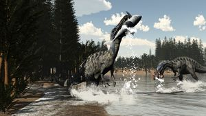 Two Suchomimus dinosaurs catch a fish and shark