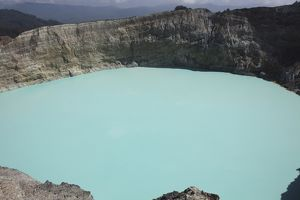 Turquoise crater lake of Kelimutu volcano, Flores Island, Indonesia