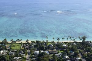 View overlooking the coastline of Lanikai Beach, Oahu, Hawaii