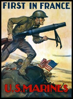 military/world war poster marines charging battle american
