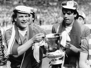 Andy Gray left and Graeme Sharp of Everton May 1984 hold the FA Cup