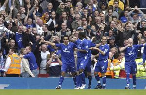 Arsenal v Everton 28/10/06 Tim Cahill celebrates scoring the first goal for Everton