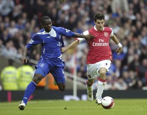 Arsenal v Everton Arsenal's Francesc Fabregas and Everton's Joseph Yobo in action