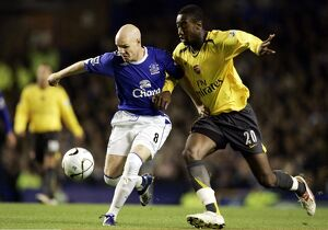 Everton v Arsenal Carling Cup Fourth Round Andrew Johnson and Johan Djourou