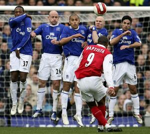 Everton v Arsenal - Julio Baptista has a shot on goal past Everton's wall