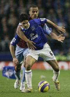 Everton v Aston Villa - Everton's Mikel Arteta and Aston Villa's Gabriel