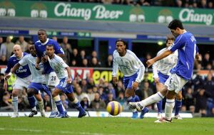 Everton v Chelsea Mikel Arteta scores the first goal for Everton from a penalty