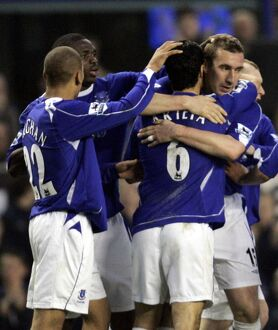 Everton v Fulham Alan Stubbs celebrates his goal for 2-1