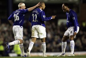Everton v Fulham James Vaughan celebrates his goal