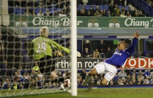 Everton v Fulham James Vaughan Everton scores his goal for 3-1