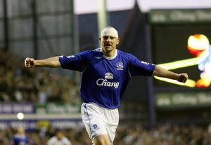 Everton v Fulham Lee Carsley celebrates his goal for 1-1