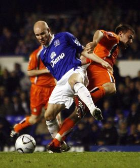 Everton v Luton Town - Goodison Park - 24/10/06 Everton's Andrew Johnson is brought