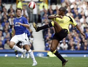 Everton v Manchester City James Beattie of Everton in action against Sylvain Distin