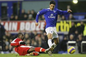 Everton v Middlesbrough George Boateng tackles Mikel Arteta