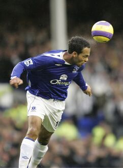 Everton v Newcastle United Everton's Joleon Lescott head the ball