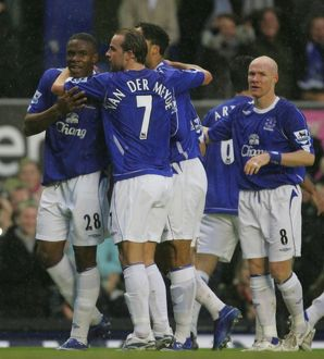 Everton v Newcastle United Victor Anichebe celebrates after scoring with Andy Van
