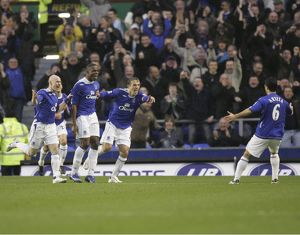 Everton v Newcastle United Victor Anichebe celebrates after scoring with team mates