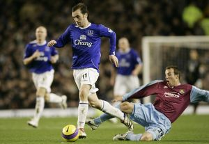 Everton v West Ham - Everton's James McFadden is fouled by West Ham's Lee Bowyer