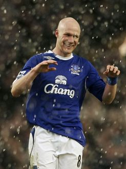 Everton's goalscorer Johnson celebrates following an English Premier League soccer