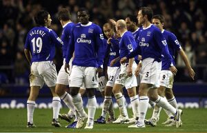 Everton's James Vaughan celebrates with his team mates after scoring his teams