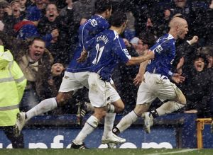 Everton's Johnson celebrates after scoring during their English Premier League