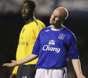 Everton's Johnson gestures during their English League Cup fourth round soccer