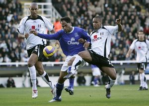 Fulham v Everton 4/11/06 Fulham's Wayne Routledge and Zat Knight and Everton's