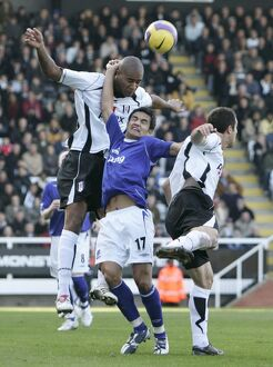 Fulham v Everton 4/11/06 Zat Knight in action against Tim Cahill