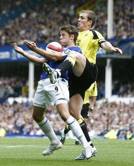 James Beattie in action against Man City's Richard Dunne