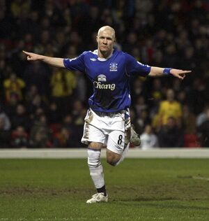 Watford v Everton - Andy Johnson celebrates scoring Everton's second goal