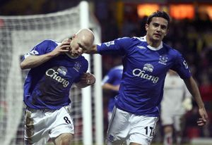 Watford v Everton - Andy Johnson celebrates scoring Everton's second goal with