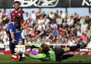 West Ham United v Everton Robert Green saves from James Beattie