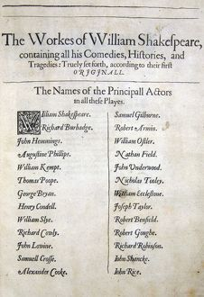 First Folio, names of Principall Actors, 1623